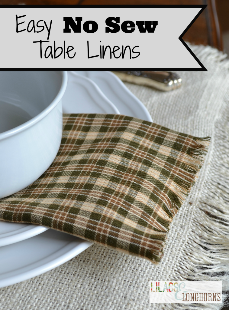 Easy No Sew Napkins And Runner Thankful At Home Blog