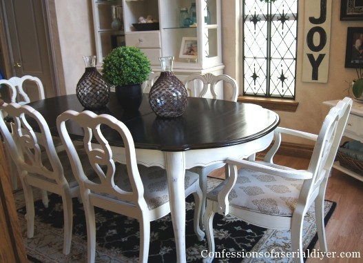 chalk paint dining room table. You can even update a piece with just stripes from Just Girl and Her  Blog Abby adds grain sack to an already painted chest for quick Chalk Paint Archives Lilacs LonghornsLilacs Longhorns