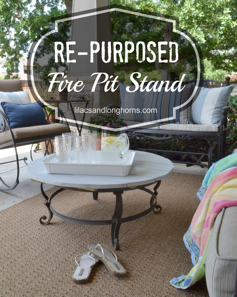 re-purposed fire pit stand