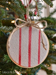 faux grain sack hoop ornament