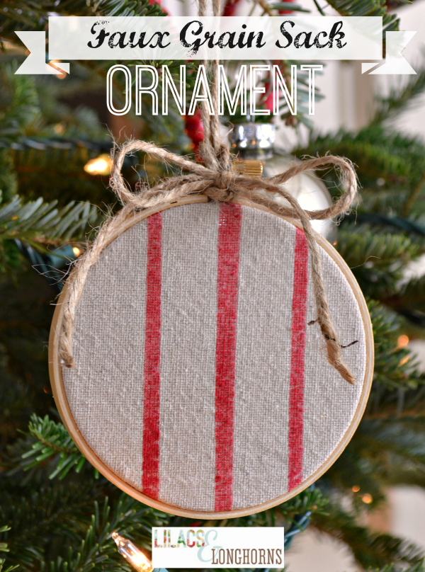 faux grain sack Christmas ornament