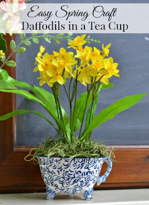 daffodils in a tea cup spring craft