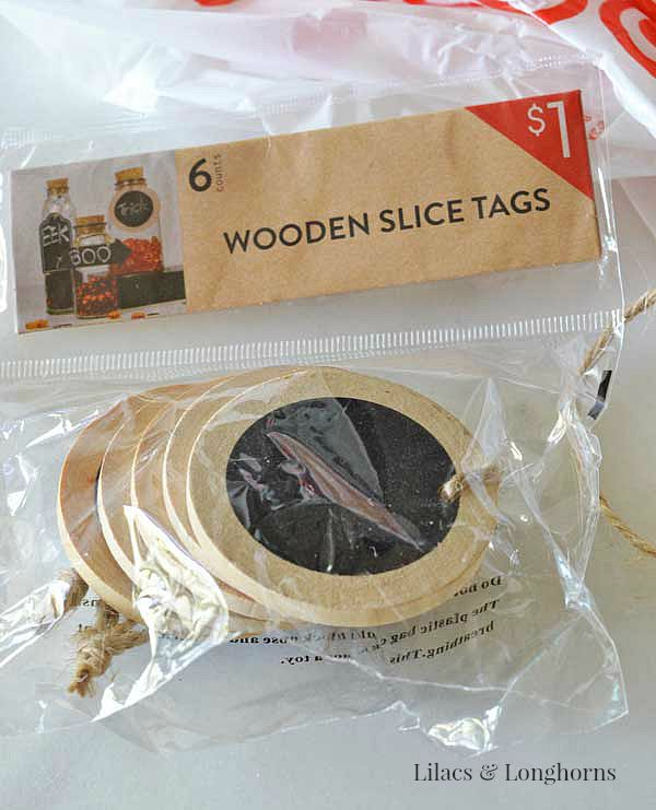 wooden slice tags from Target | Lilacs & Longhorns