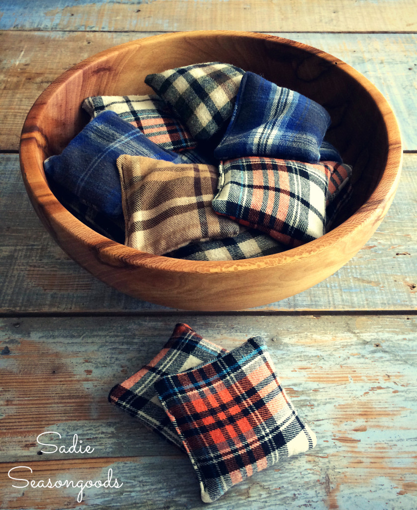 flannel shirt scraps resuable hand warmers