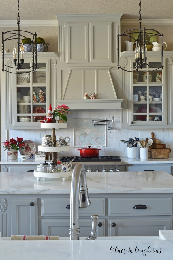 gray and white kitchen decorated for Christmas