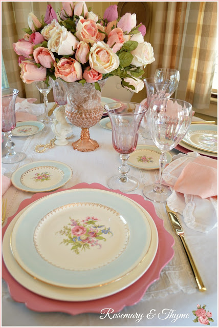 Feminine table setting by Rosemary and Thyme shared at Share It One More Time 19