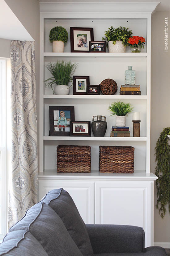 Styled built-in bookshelves from How to Nest for Less shared at Share It One More Time 19