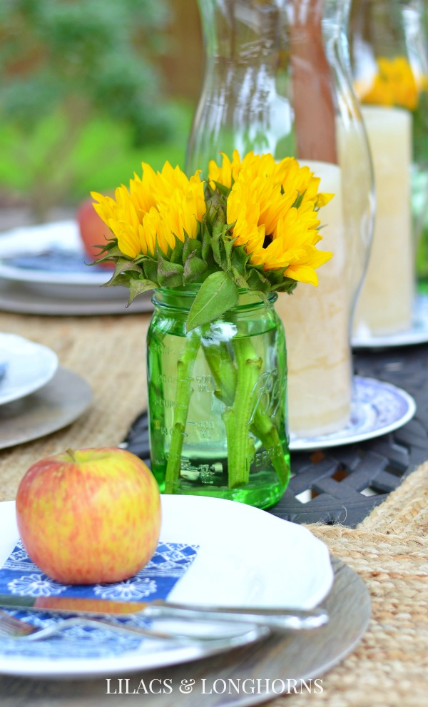 sunflowers and apples summer tablescape