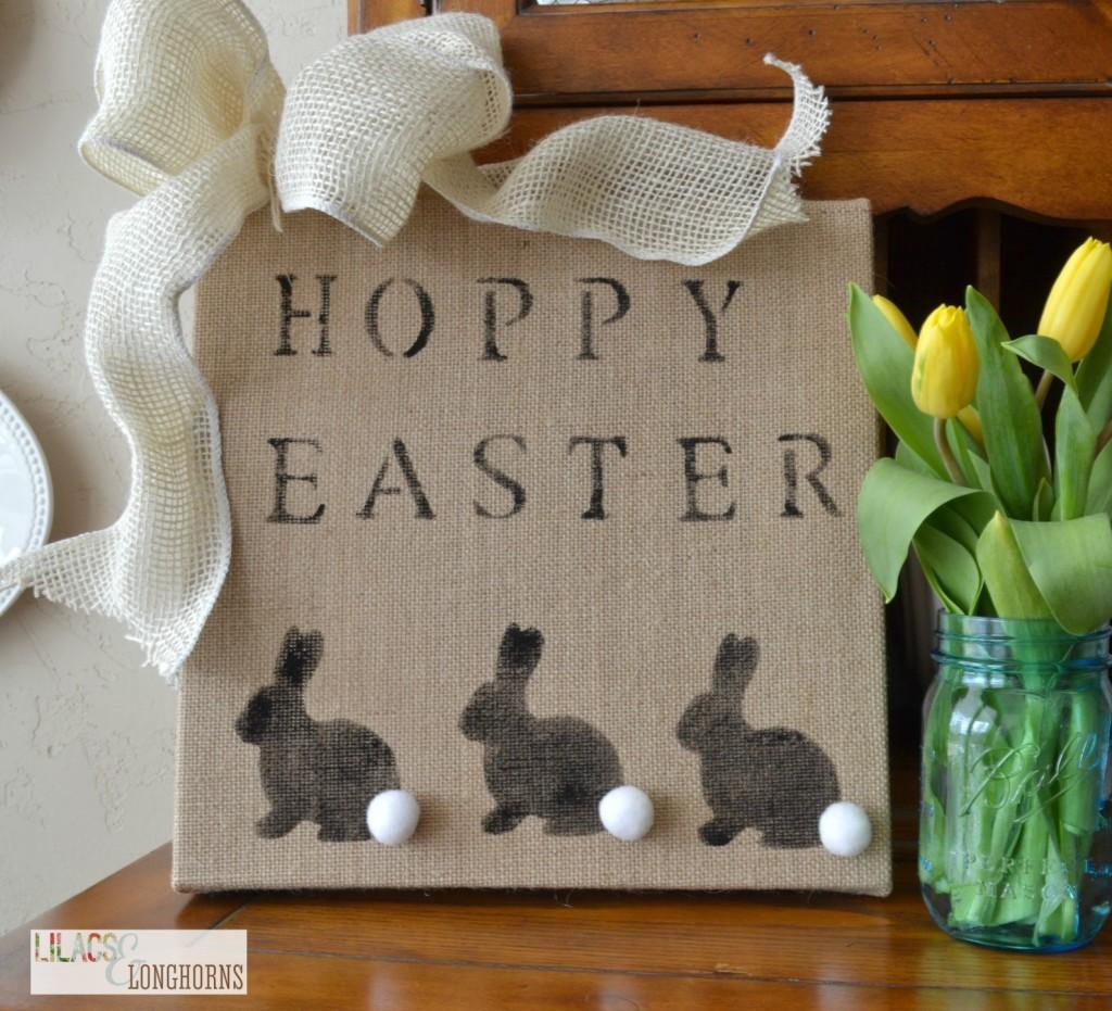 Hoppy Easter burlap sign