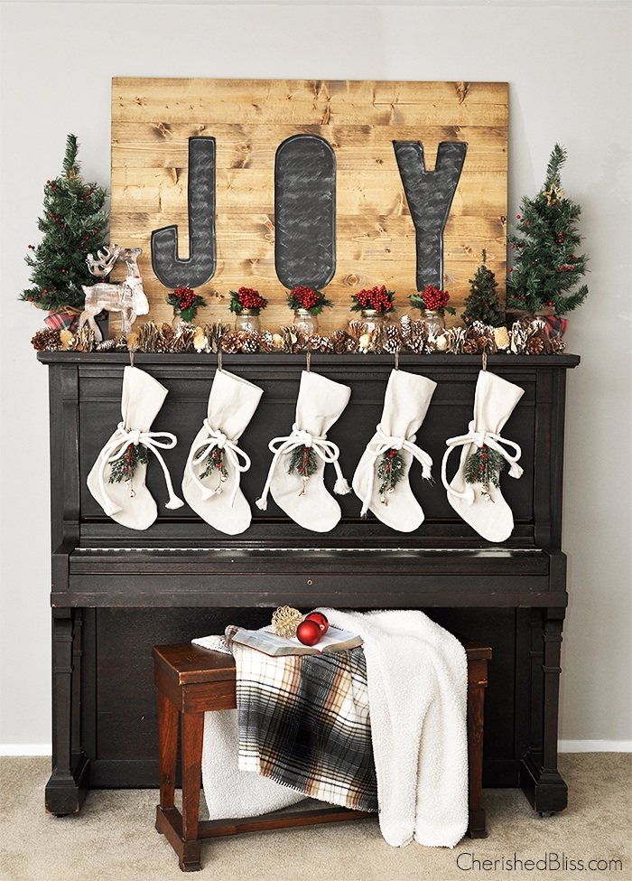 rustic woodland Christmas JOY sign