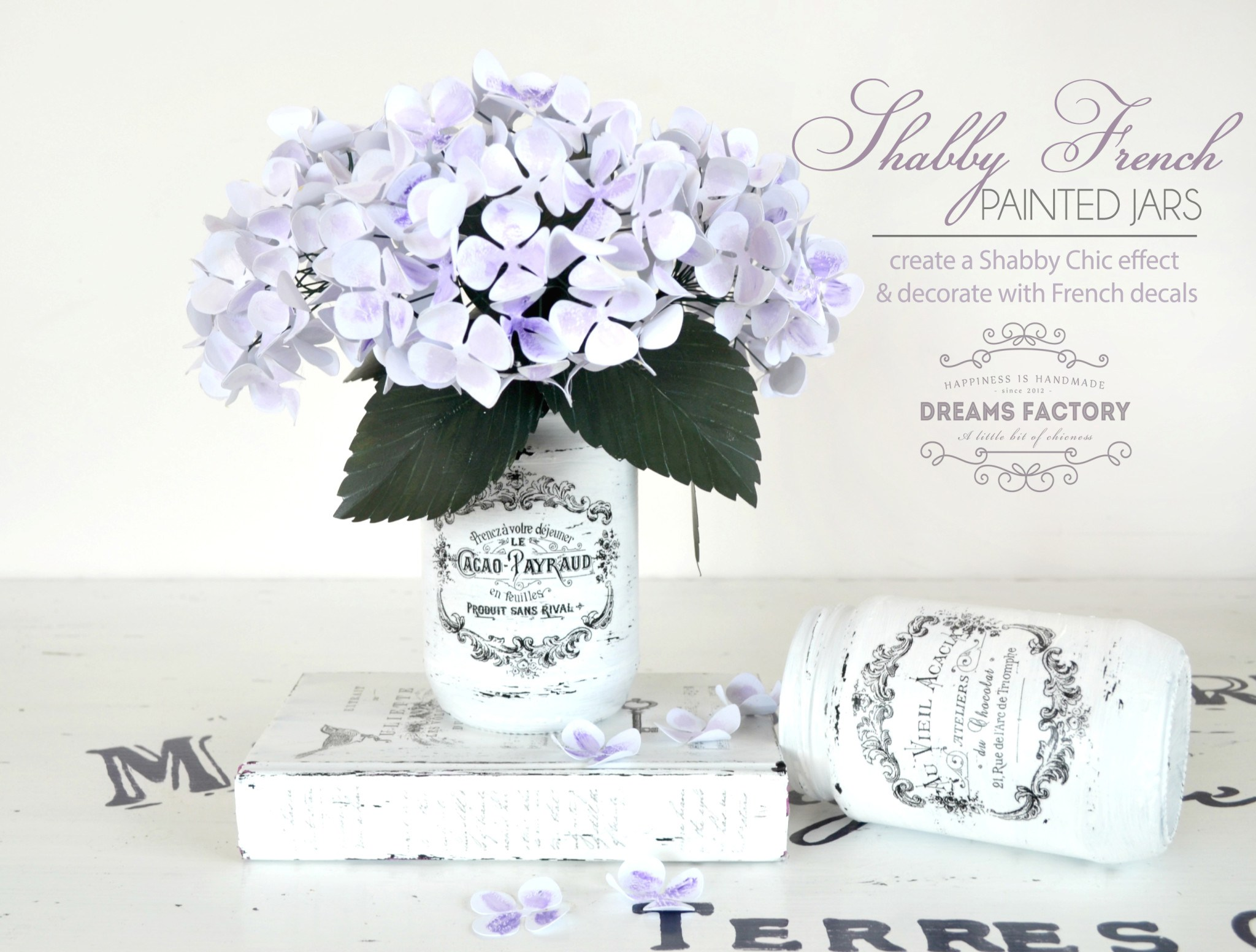 Shabby French-painted jars by Dreams Factory shared at Share It One More Time 19
