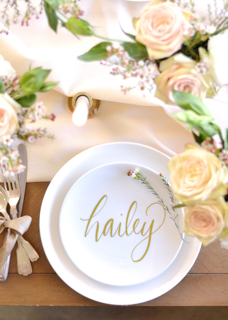 Wine glass writer for DIY faux calligraphy place setting by Boxwood Avenue shared at Share It One More Time 19